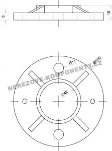 Obere Verankerung - groß - Geländerpfosten 42,4 mm
