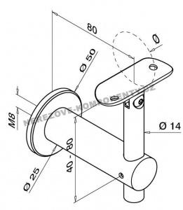 Handlaufhalter an die Wand mit Gelenk (verstellbar KM)