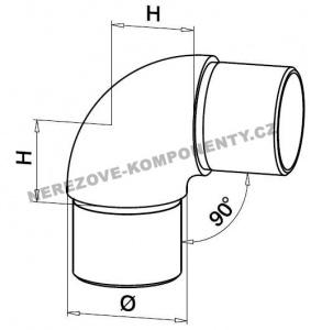 Verbinder des Edelstahlhandlaufs 42,4 mm - 90 Grad (Ellbogen)