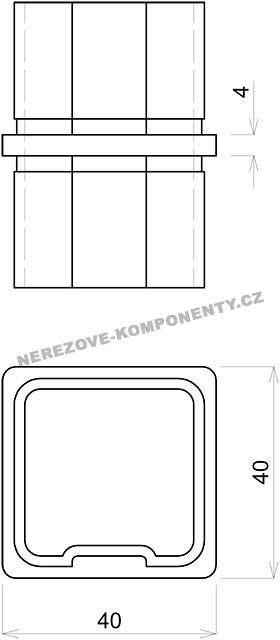 verbinder des rostfreien handlaufs 40x40 mm gerade handlaufverbinder und endst cke. Black Bedroom Furniture Sets. Home Design Ideas