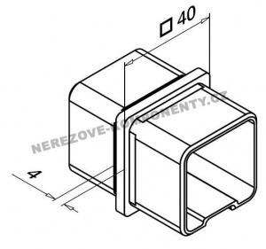 Verbinder des Edelstahlhandlaufs 40x40 mm - gerade