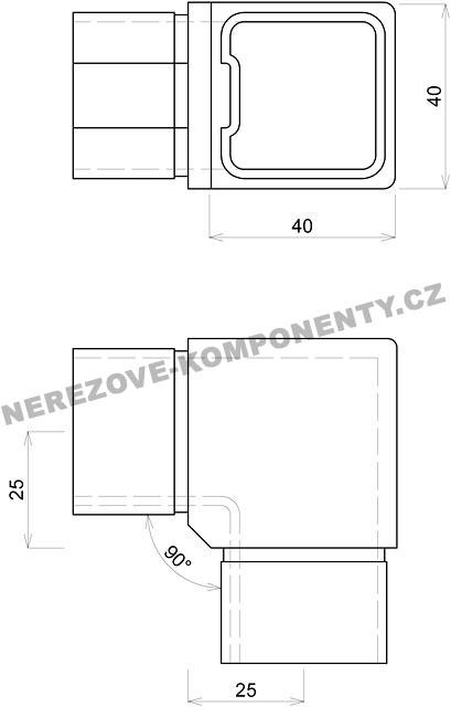verbinder des rostfreien handlaufs 40x40 mm 90 grad handlaufverbinder und endst cke. Black Bedroom Furniture Sets. Home Design Ideas