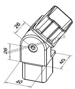 Verbinder des Edelstahlhandlaufs 40x40 mm - verstellbar