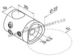 Edelstahl-Stabhalter 12 mm - Verbinder durchlaufend KS