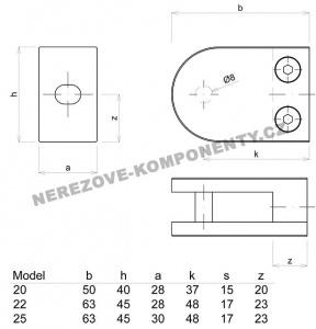 Glashalter für Geländer halbrund - MODELL 22 HS