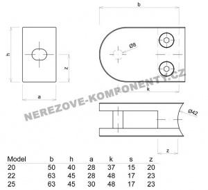 Glashalter für Geländer halbrund - Modell 25 KS