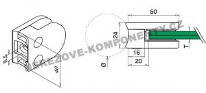 Glashalter für Geländer halbrund - Modell 20 KS