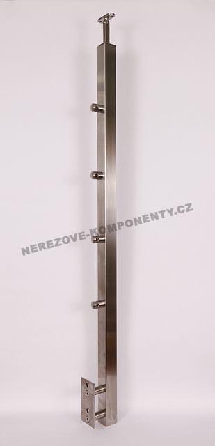 Edelstahlpfosten 40x40 mm - seitig - Stab 12 mm